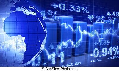 globe, en, grafieken, blauwe , beursmarkt
