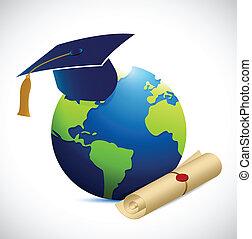 globe, en, opleiding, illustratie, ontwerp