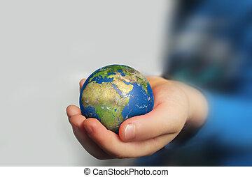 globe, enfant, tenant main