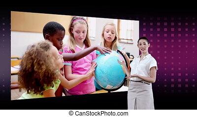globe, enfants, regarder, vidéos