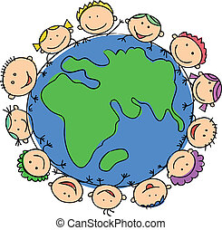 globe, enfants, tenue, heureux