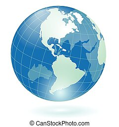 Globe - Illustration, transparent blue globe on white...