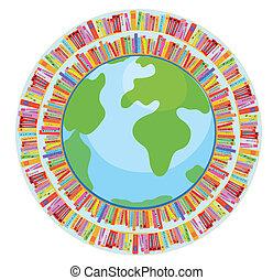globe, et, livre, education, concept, illustration