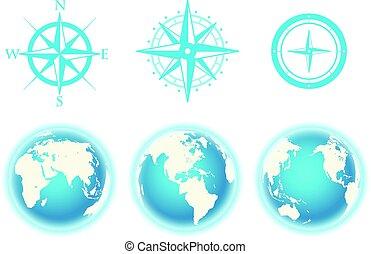 globe, et, vent, rose, plan, vecteur, couleur, collection