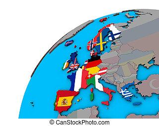 globe europe, drapeaux, occidental, 3d