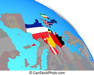 globe europe, drapeaux, occidental