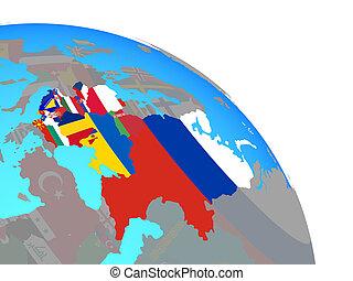 globe europe, drapeaux, oriental