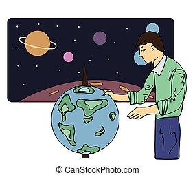 globe., földrajztudós, ábra, természettudós, elszigetelt, ...