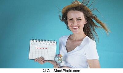 globe, femme, jeune, calendrier