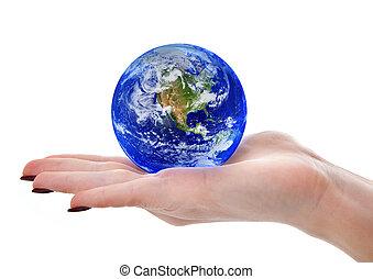 globe, femme, tenant main