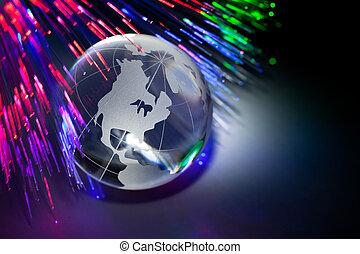 globe, fibre optique