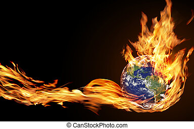 globe fire - hand holds the fire of the globe