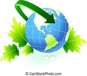globe, flèche, fond, nature