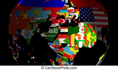 Globe Flags Spinning Includes Matte & Fill