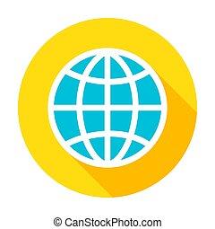 Globe Flat Circle Icon