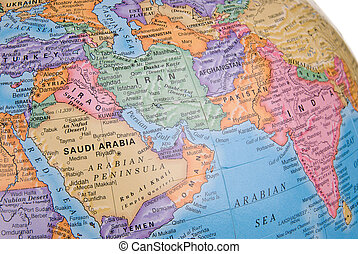 Globe focusing on Middle east - Globe focusing on middle...