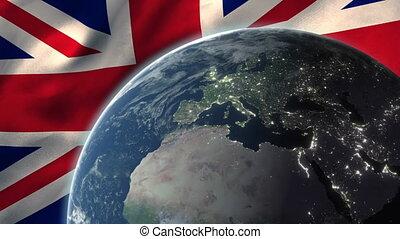 globe, fond, grand, contre, drapeau, grande-bretagne