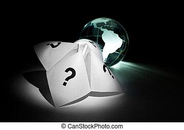 globe, fortune papier, caissier