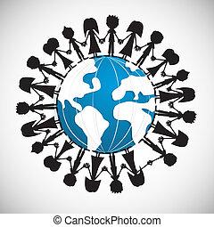 globe, gens, autour de, tenant mains