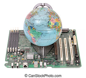 globe (German) on the computer motherboard