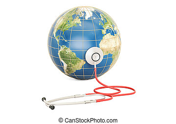 globe global, jour, healthcare, rendre, santé, la terre, mondiale, stethoscope., concept., 3d