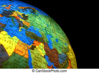 globe of the world with many countries