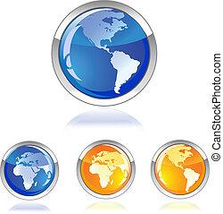 globe glossy icon button