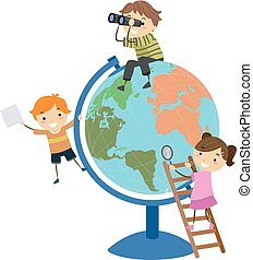 globe, gosses, stickman, jeu, illustration