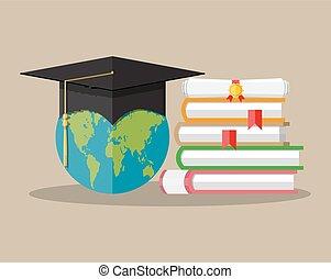 Globe, graduation cap, books, diploma. education