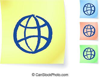 Globe graphic on sticky note