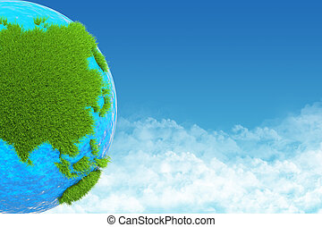 globe green grass on background sky