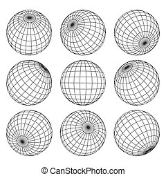 Globe grid. 3d sphere wires, earth network vector isolated set