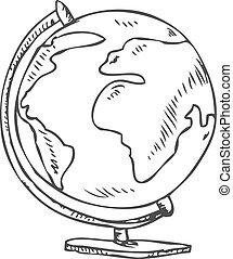 globe, griffonnage