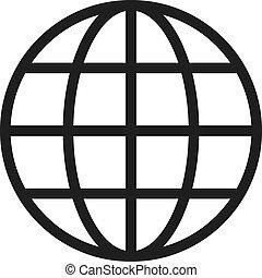 globe, grille, icône