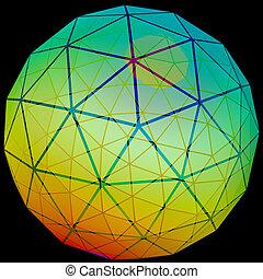 globe, grille, réseau, illustration, 3d