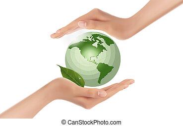 globe, groene, holdingshanden