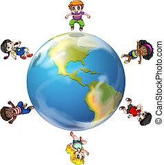 globe, groupe, autour de, gens