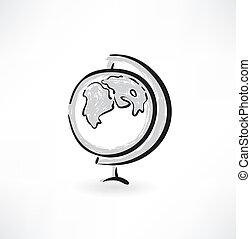globe, grunge, icône