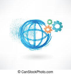 globe, grunge, mécanisme, icône