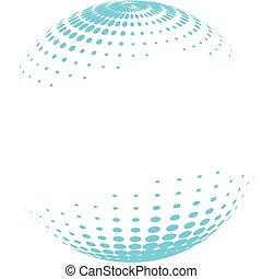 globe, halftone., coloré