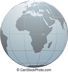 Hand drawn vector globe with Africa, Europe and part of Asia