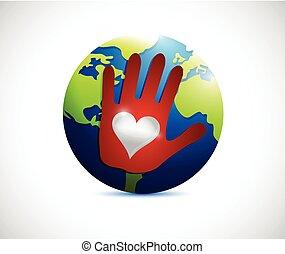 globe hand love hand illustration