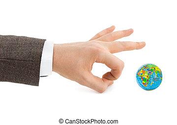 globe, hand
