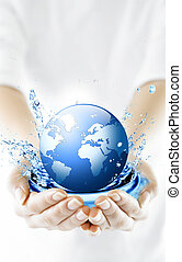 globe, hands., conservation., environnement, concept
