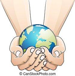 globe, hands.