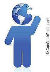globe head icon illustration design
