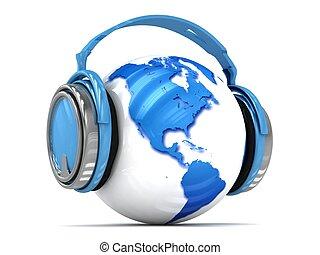 globe, headphones., la terre