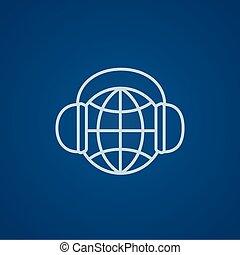 globe, headphones, lijn, icon.