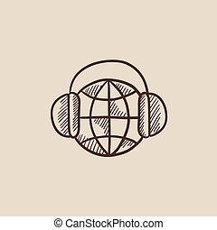 globe, headphones, schets, icon.