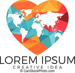 Globe heart shape logo design. Symbol of love and peace.
